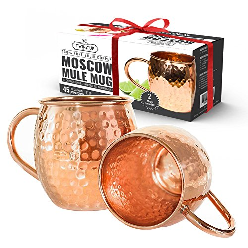 moscow mule becher geschenk set 2 kupfertassen 2 untersetzer 2 trinkhalme 1. Black Bedroom Furniture Sets. Home Design Ideas
