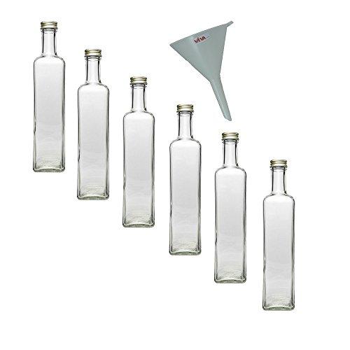 6 x glasflasche 500 ml mit schraubverschluss leere. Black Bedroom Furniture Sets. Home Design Ideas