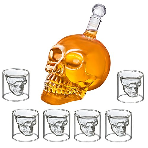 totenkopf karaffe und 6 totenkopf gl ser glas sch del 350 ml skull head schnapsgl ser 25 ml. Black Bedroom Furniture Sets. Home Design Ideas