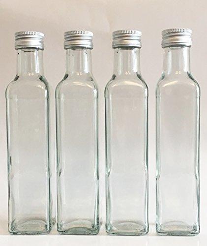 12 leere glasflaschen maraska 250 ml incl schraubverschluss eckig zum selbst abf llen. Black Bedroom Furniture Sets. Home Design Ideas