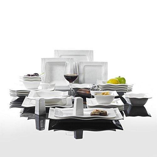 malacasa serie mario 28 teilig kombiservice aus porzellan geschirrset mit je 6 schalen 6. Black Bedroom Furniture Sets. Home Design Ideas