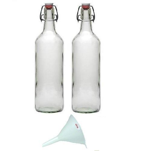 viva haushaltswaren 2 x glasflasche 1000 ml mit b gelverschluss aus porzellan zum bef llen. Black Bedroom Furniture Sets. Home Design Ideas