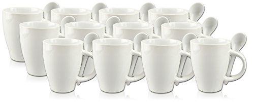 12 kaffeebecher kaffeetassen l ffeltassen wei resiako. Black Bedroom Furniture Sets. Home Design Ideas
