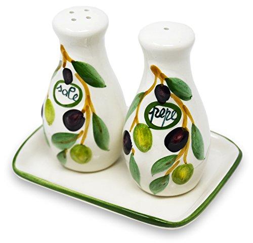 handgemachte lflasche mit ausgie er 500 ml im olivendesign aus italienischer keramik gr e ca. Black Bedroom Furniture Sets. Home Design Ideas
