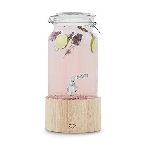 glas getr nkespender greta 3 8 l mit edelstahl zapfhahn u st nder aus eichenholz von springlane. Black Bedroom Furniture Sets. Home Design Ideas