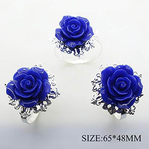 10pcs Blau Rose Dekoration Silber Serviette Ring